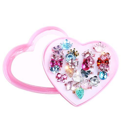 Pulluo 24pcs Kinderringe Mädchen Ring Kinder Ringe Set Verstellbar Fingerring für Kinder Geburtstag Party Favors Spielzeug Prinzessinnen
