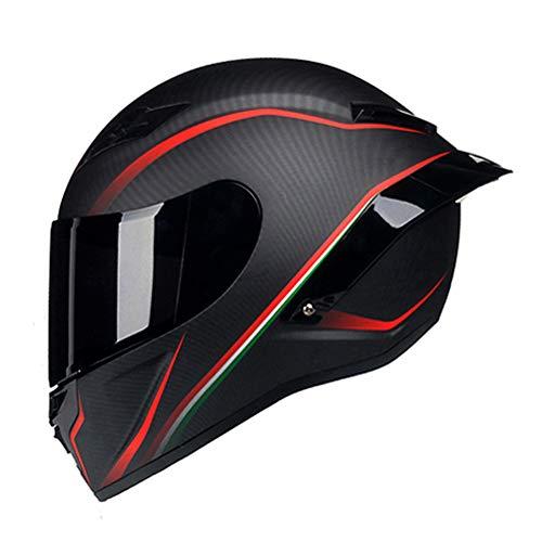 Woljay Carbon Fiber Motorcycle Helmet Full Face Motocross Off Road Moto Street Bike Racing Helmets (Small, Red Line Matte)