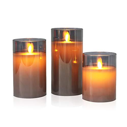 3er Set Grau LED Kerzen flackernde Flamme mit Timerfunktion und batterien, flammenlose Kerzen im Glas