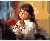 Pintura al óleo de bricolaje Niña rezando Pintura por números Para lienzo niños adultos decoración set de regalo pintura acrílica 40x50cm (sin marco)