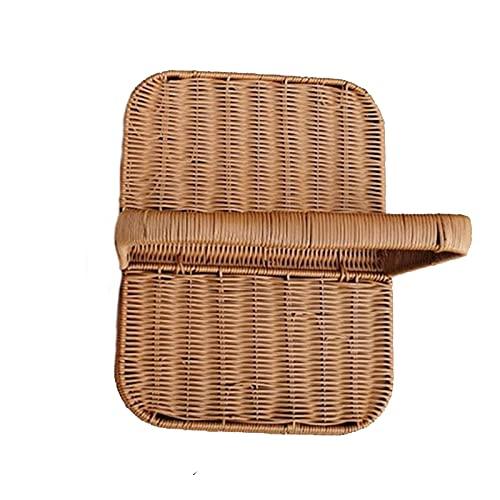Cesta de picnic portátil reforzada con alambre de ratán, cestas de almacenamiento convenientes, cestas de picnic de gran capacidad, cestas de vegetales tejidas de estilo rural y cestas de flores de co