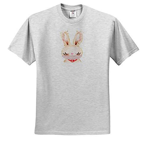 3dRose AMansMall Coronavirus Pandemic - Pink Rabbit Wearing Mask Watercolor Art, 3DRAMM - Toddler Birch-Gray-T-Shirt (4T) (ts_342303_33)