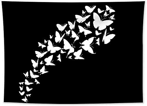 QJIAHQ Tapiz en Blanco y Negro Arte de Pared Mariposa Creativa sobre Fondo Negro Tapices Manta para Colgar en la Pared para Dormitorio Sala de Estar TV Decoración de Pared Obra de Arte