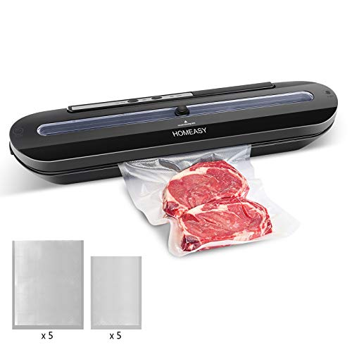 Homeasy Vacuum Sealer, Automatic Food Sealer Machine One-Touch Sealing/Vacuum for Dry Food Fresh Preservation with 10Pcs BPA-Free Seal Bags