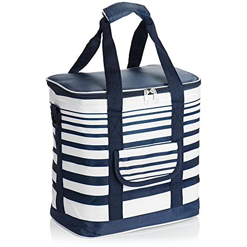com-four Bolsa Nevera - Caja Térmica Plegable - Bolsa Aislante Ligera para Camping y Exterior - Bolsa para Picnic de Verano (01 Pieza - Azul/Blanco - 12l)
