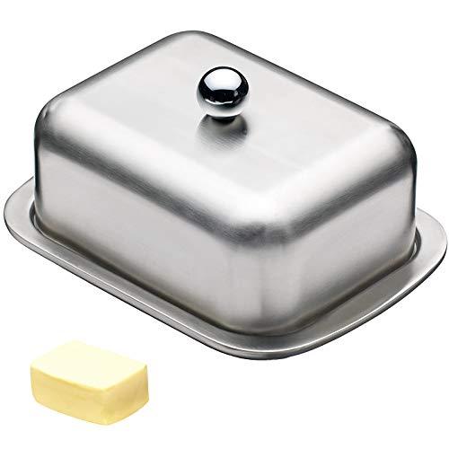Butterdose aus Edelstahl Butterschale mit Deckel Leichte Butterschale Kühlschrank Butterdose Kitchen Butterschale für Hausmannskost und Restaurant Butterplatte Dessertteller(18.5 x 12.2 x 6.8 cm)