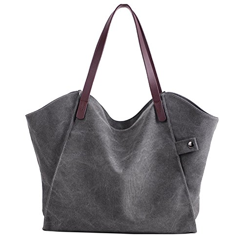 Sanxiner Women's Casual Canvas Tote Bags Shoulder Handbag Travel Bag (Gray)