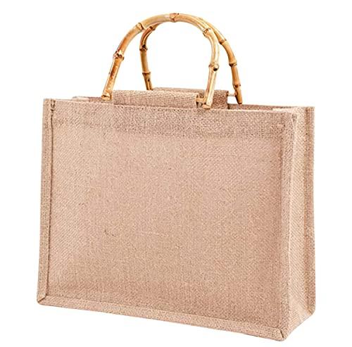 Phantasy】Borsa Juta con manico in bambù artistico impermiabile, borsa da donna in iuta ,Borsa per la Spesa portatile ( M = 31*25*10cm )