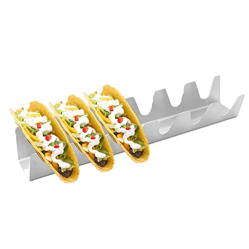 Stainless Steel Taco Holder Tray, Taco Truck Stand Holds Up To 6 Tacos Each as Plates, Use as a Shell Baking Rack - Safe for Dishwasher, Oven, and Grill, Holders Size 13' x 2.6' x 1.8'