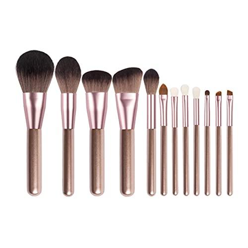 YSJJMES Brochas de Maquillaje Pinceles de Maquillaje Set Professional con el Cabello Natural Fundación Polvo Sombra de Ojos Make Up Brush Blush 12pcs con Bolsa (Handle Color : 12pcs)
