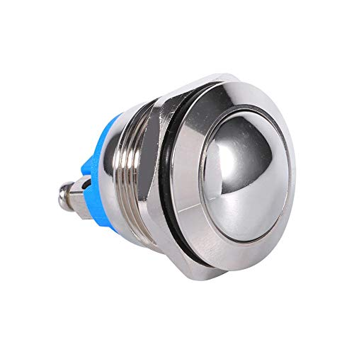 Keenso Druckknopfschalter, 12 V, 3 A, wasserdicht, Auto Momentary Lautsprecher, Drucktaster, Metall-Kippschalter, IP65 IK08 19 mm