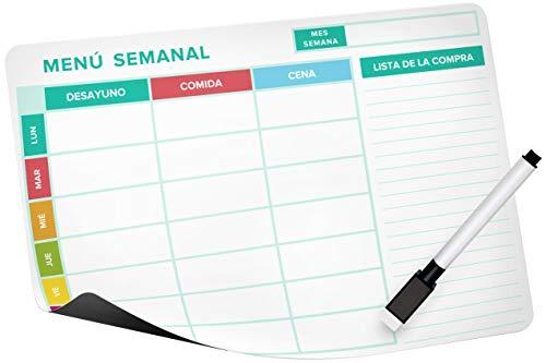 Calendario Magnético Menu Semanal (22cm. x 17,5cm.), Lista de la compra - campo especial + Marcador de borrado en seco con tapa magnética, Pizarra Magnética Nevera