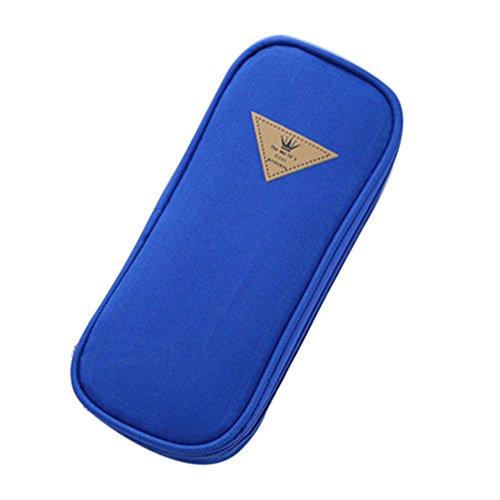WeiMay Trousse Étudiants Style simple Couleur de bonbon Sac à crayons Grande capacité Multifonctionnel Boîte à papeterie Flip couvercle Sac cosmétique size 19.5*9*4.5CM (Bleu foncé)