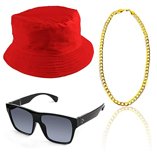 Beelittle 80s/90s Hip Hop Costume Kit Old Style Cool Rapper Outfits - Bucket Hat Oversized Black Sunglasses Gold Plated Chain (C)