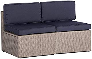 SOLAURA Outdoor Furniture Sectional Sofa Conversation Set 2 Additional Chairs Gray Wicker with Nautical Navy Blue Cushions