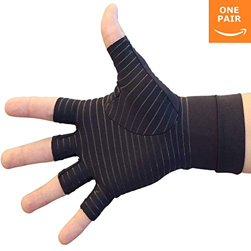 Hand Pain Relief Gloves - Copper Compression Gives Relief Rheumatoid Arthritis , Carpal Tunnel , Osteoarthritis , Trigger Finger , Joint Pain and Work, Sports, or Arthritis Pain (Pair) (Medium)