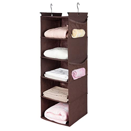 MAX Houser 5 Shelf Hanging Closet Organizer, Space Saver, Cloth Hanging Shelves with 4 Side Pockets, Foldable (Brown)