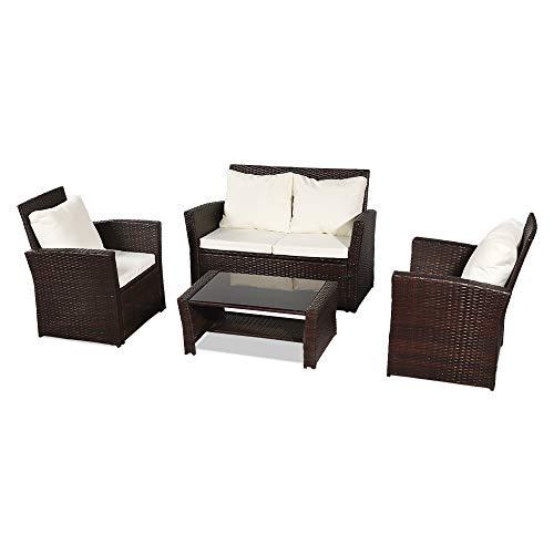 YELITE Rattan Garden Furniture Set Patio Conservatory Indoor Outdoor 4 piece set table chair sofa