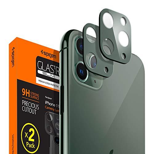 Spigen, 2 Stück, Kamera Schutzglas kompatibel mit iPhone 11 Pro/iPhone 11 Pro Max, Nachtgrün, Hüllenfreundlich, Anti-Kratzer, Kristallklar, Keine Störung für Blitzfunktion Schutzfolie (AGL00501)