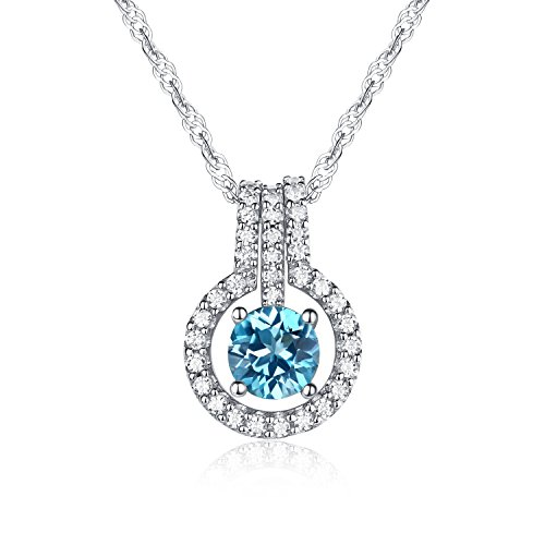 Women's Jewerly Natural Swiss-blue Topaz Gemstone Round Shape with 925 Sterling Silver Pendant Necklace,18″