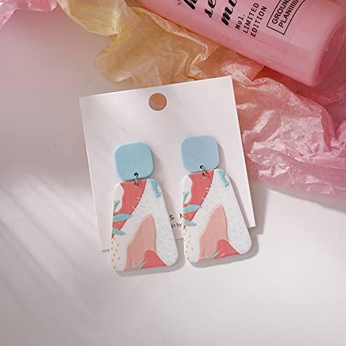 FEIHUI Pendientes De Plata Mujer,Moderno Color Creativo Acrílico Patrón Trapezoidal Moda Hipoalergénico Pendientes De Gota Exquisita Gota para El Oído Colgando Joyería Colgante para Mujeres Hombres
