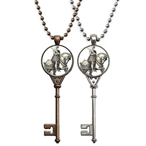 Mittelalterliche Ritter von Europa, Linienzeichnung, Schlüssel, Halskette, Anhänger, Schmuck, Paar-Dekoration