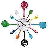 Reloj de pared, timelike 16'metal Cocina Cubertería utensilios de cocina cuchara tenedor reloj de pared creativo moderno decoración del hogar reloj de pared de estilo antiguo