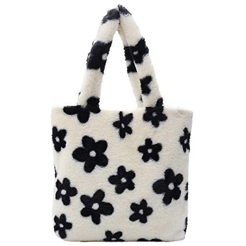 Bolso de felpa, bolso casual estampado de flores para las axilas de otoño para mujer, bolso suave y esponjoso, viaje en la calle, bolso de embrague con asa superior para mujer, l, Small/Large
