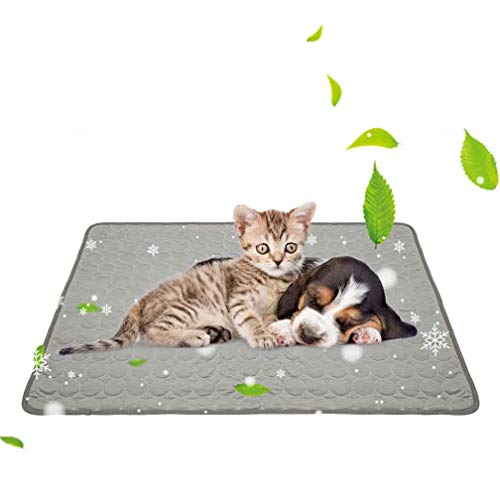 Cooling Mat for Dogs Cats Ice Silk Pet Self Cooling Pad Blanket for Pet Beds/Kennels/Couches /Car Seats/Floors (Large, Grey)