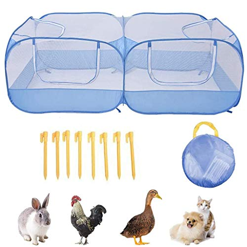 FEIlei Chicken Coop, Portable Chicken Run Large pop-up Chicken Pen,Suitable for Small Animals Ducks,o-Blue