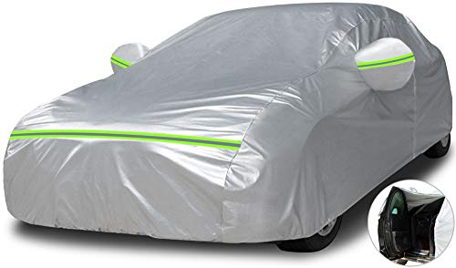 Car Cover Waterproof All Weather - Multilayer Full Car Covers with Driver Side Zipper, UV Protection, Hail, Dustproof, Scratch Resistant Universal Car Cover(Fits Sedan 185' to 196')