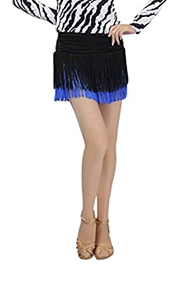 Feimei Woman Latin Rumba Cha Cha Cowboy Samba and Bullfight Ballroom Salsa Dancing Skirt with Tassels hemlines
