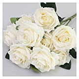 WXL 1 ramo de rosas artificiales francesas, ramo de flores falsas, para organizar mesa, margaritas, decoración de bodas, accesorios de fiesta, flores artificiales (color: beige)
