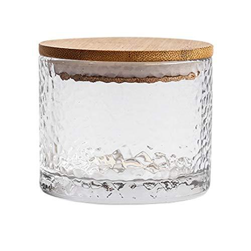Zsail Botes Cristal Pequeños Vacío con Tapas de Madera Cocina Despensa Recipientes de Cristal para Alimentos Tarro Cristal para Meriendas de Té Granos de Café Galletas Dulces (Color : 200ml)