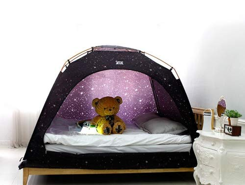 CAMP 365 Child's Indoor Privacy and Play Tent on Bed Sleep Cozy in Drafty Room (Single, Starlight)