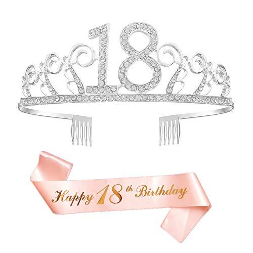 REYOK Geburtstags Krone 18. Geburtstags Kristall Tiara Krone mit Rose Gold It's my 18th Birthday! Geburtstags Schärpe Birthday Crown Prinzessin Kronen Haar-Zusätze - Silber für Geburtstagsfeiern