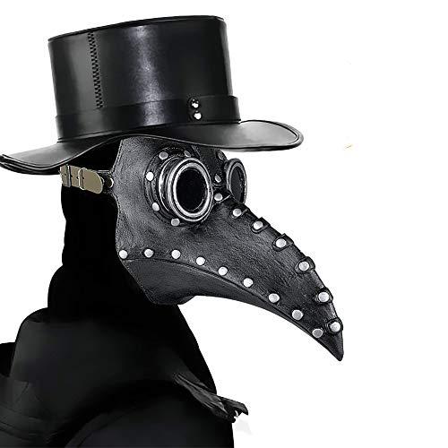 E-More - Maschera da dottore stile steampunk, gotico, per cosplay, martedì grasso, feste in maschera, Natale, Halloween, feste in costume, colore: nero