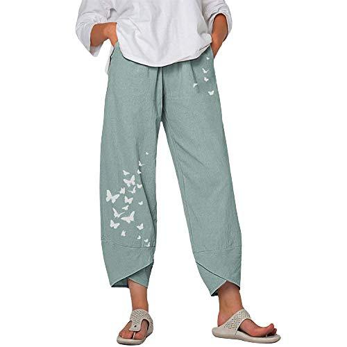 Pantalones Holgados de Pierna Ancha de Verano para Mujeres Europeas y Americanas Pantalones Casuales de algodón y Lino con Estampado de Mariposa