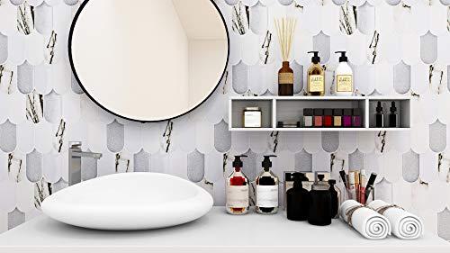 "HomeyMosaic Peel and Stick Backsplash Tile 3D Wall Silica Gel Vinyl Tiles for Home Decor, Stick on Kitchen Bathroom Back Splashes(5-Sheet,11""x10"",Fish Scale Light Black&White)"
