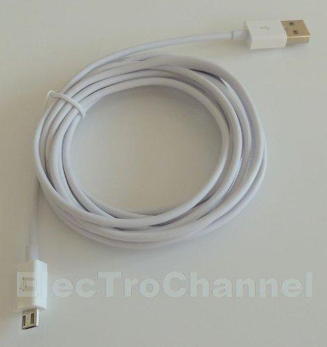 ElecTroChannel - Micro Usb Kabel 2.0 Ladekabel Ladegerät Datenkabel KFZ Auto A-Stecker auf Micro-B-Stecker typ A auf B Weiss White für Haus Steckdose und KFZ Auto für SAMSUNG S4 i9500 i9505 LTE S3 i9300 i9305 HTC ONE M7 Sony Xperia Z, Z1 , Xperia E, Xperia E Dual, Xperia V, Xperia J, Xperia T, Xperia Miro, Xperia Tipo Dual, Xperia Ion, Xperia Go, Xperia P, Xperia U, Xperia Sola, Xperia S, Xperia Z Ultra, Xperia Z1 LG P760 Optimus L9 E400 L3 Nokia wie AC-10e DC-6 Lumia Samsung Galaxy I9000 I9100 I9300 I9305 I9500 I9505 S4 S3 S2 S Plus LG GS290 GS500 GT350 GD880 Samsung Galaxy ACE 1000 mah BlackBerry Bold 9780 9800 9700 Nokia N97 Lumia 920 820 620 HTC ONE X M7 Wildfire Sensation Desire Samsung Galaxy S4 S3 S3 mini SonyEriccson Xperia X8 X10 X12 Samsung Galaxy Note Note 2 II Motorola Defy Milestone Razr i HTC Desire HD HD2 HD7 EVO Samsung Galaxy i 9000 9100 9300 9305 9500 9505 9220 LG Optimus P 880 4X HD LG E960 Nexus 4 T385 P936 Samsung S8000 S8300 S5260