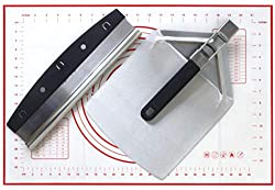 The Checkered Chef Store Checkered Chef Pizza Cutter, Pizza Peel, and Dough Mat Set