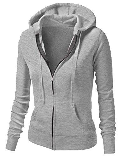 ZhuiKun Damen Kapuzenpullover Reißverschluss Top Kapuzenpullis Sweatshirt Hoodie Jacke Grau M