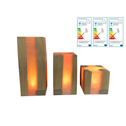 Lampenmanufaktur Saar Tischleuchte Cube 3er Set LED Leuchte Tischlampe 3 Größen