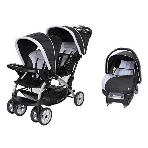 Baby Trend Sit N Stand Lightweight Travel Double Baby Stroller and Toddler Infant Car Seat Combo, Stormy