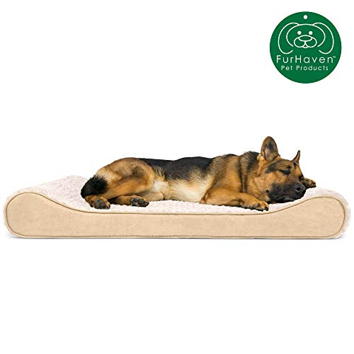 Furhaven Pet Dog Bed | Orthopedic Ultra Plush Faux Fur Ergonomic Luxe Lounger Cradle Mattress Contour Pet Bed w/ Removable Cover for Dogs & Cats, Cream, Jumbo