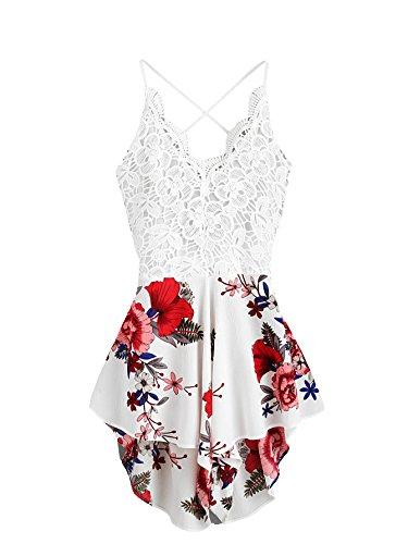 SheIn Women's Boho Crochet V Neck Halter Backless Floral Lace Romper Jumpsuit Medium White