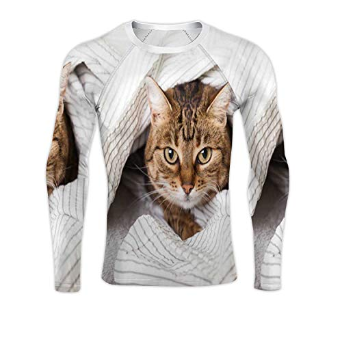 Energizer Young Tabby Mixed Breed cat Under Gray Plaid in Contemporary Bedroom.Pet Warms a Blanket Cold Winter Weather.Pets Friendly and Care Concept.Domestic Cat,Men's Long-Sleev Blitz Nur Spec Cat