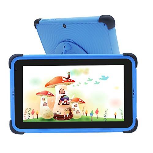 Tablet Niños de 7 Pulgadas, Tablet Niños con ROM de 32GB, IPS HD Display Quad-Core Android 10 WiFi, Tabletas de Aprendizaje con Soporte de Estuche a Prueba de niños, Azul