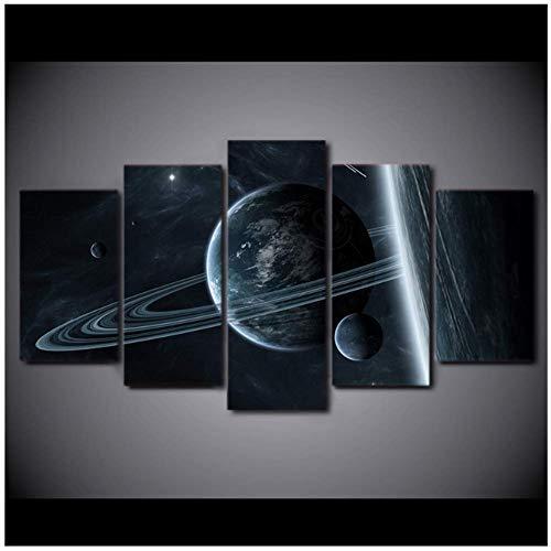 NRRTBWDHL HD gedruckt Universum Galaxy Space Bild 5 Panel Interstellare Mystery Astronaut Space Leinwand Malerei Home Decorate Post-30X40 30X60 30X80Cm No Frame