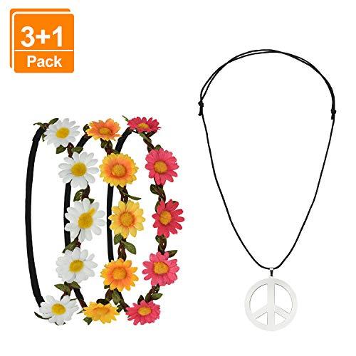 Pretop 3 Daisy Blumen Stirnband + 1 Kette Peace-Zeichen aus Metall, Ø 5cm, Blumenkranz | Blumenkranz | Haarband | Blumenkrone | Blumen | Kranz | Haarschmuck, für Karneval, 70er jahre party